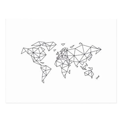 Geometric world map postcard | Zazzle.com
