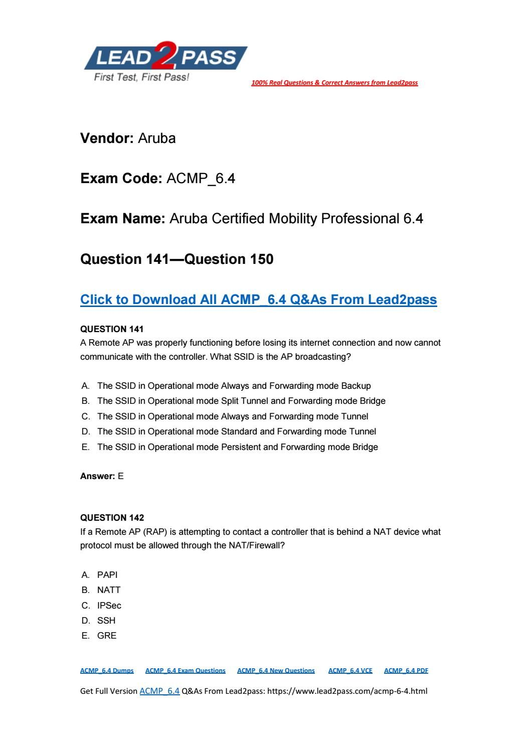Lead2pass New Acmp64 Exam Pdf Ensure Acmp64 Certification Exam