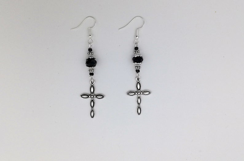 Photo of Tudor/History inspired Gothic Cross Earrings, Black Bead Earrings