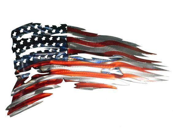 Tattered American Flag Metal Art Wall Decor #americanflagart