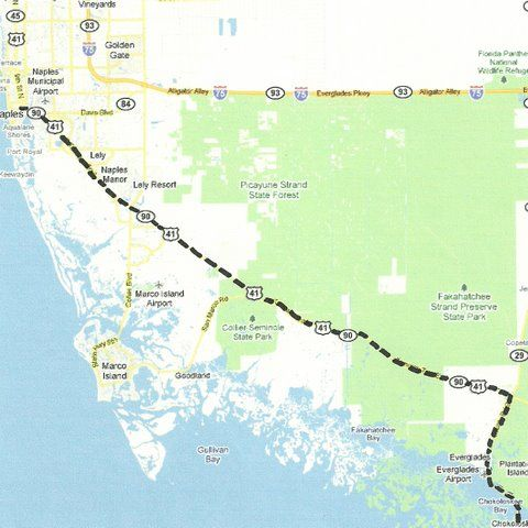 Florida Backroads Travel Map Of Route Along Us 41 Tamiami Trail To - Florida-map-us