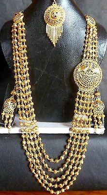 ndian Women Gold Plated Necklace Set Kundan Long Rani Haar Wedding Jewelry Gift
