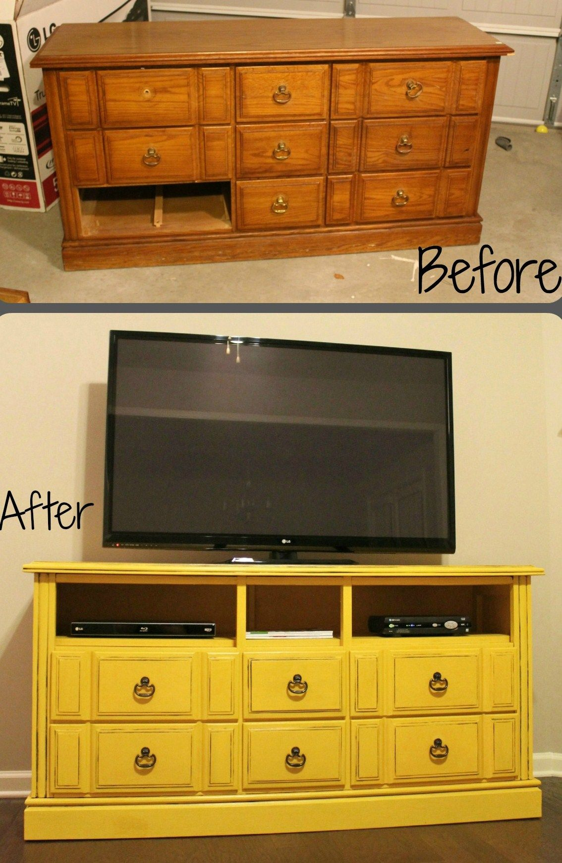 DIY Dresser turned TV Console with Tutorial Old dressers