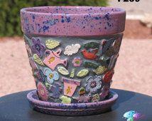 Flower - Handmade Mosaic Flower Pot  Look Great in your Yard F239