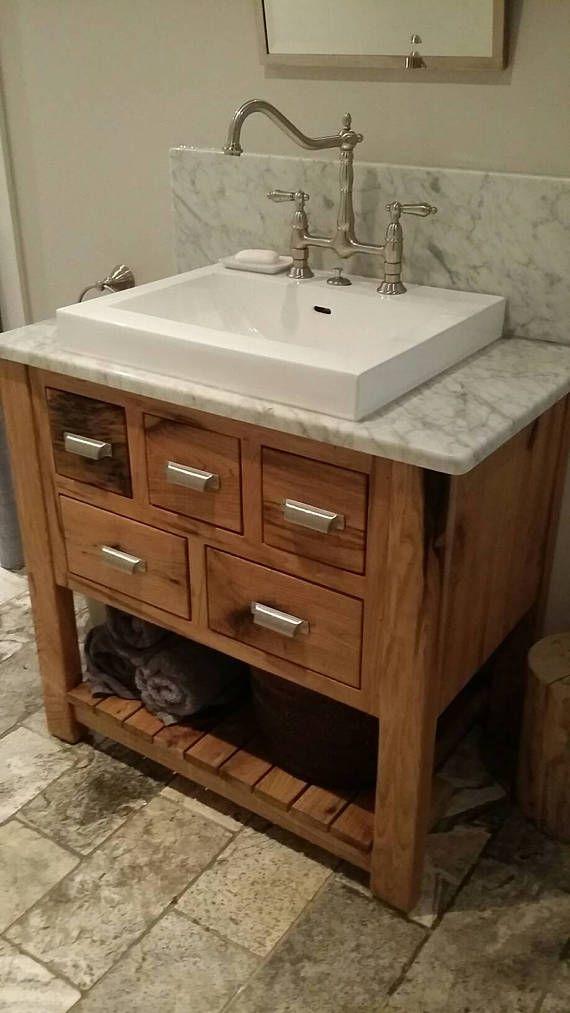 White Walnut Vanity With Semi Recessed Vessel Sink White Vessel