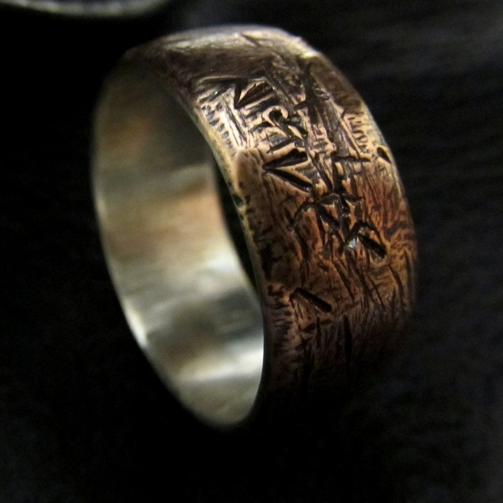 Possible band for him    Mens unusual textured copper silver sizes 8-12 MADE TO ORDER wedding band unique patterned steampunk rustic industrial ring design 013. £125.00, via Etsy.