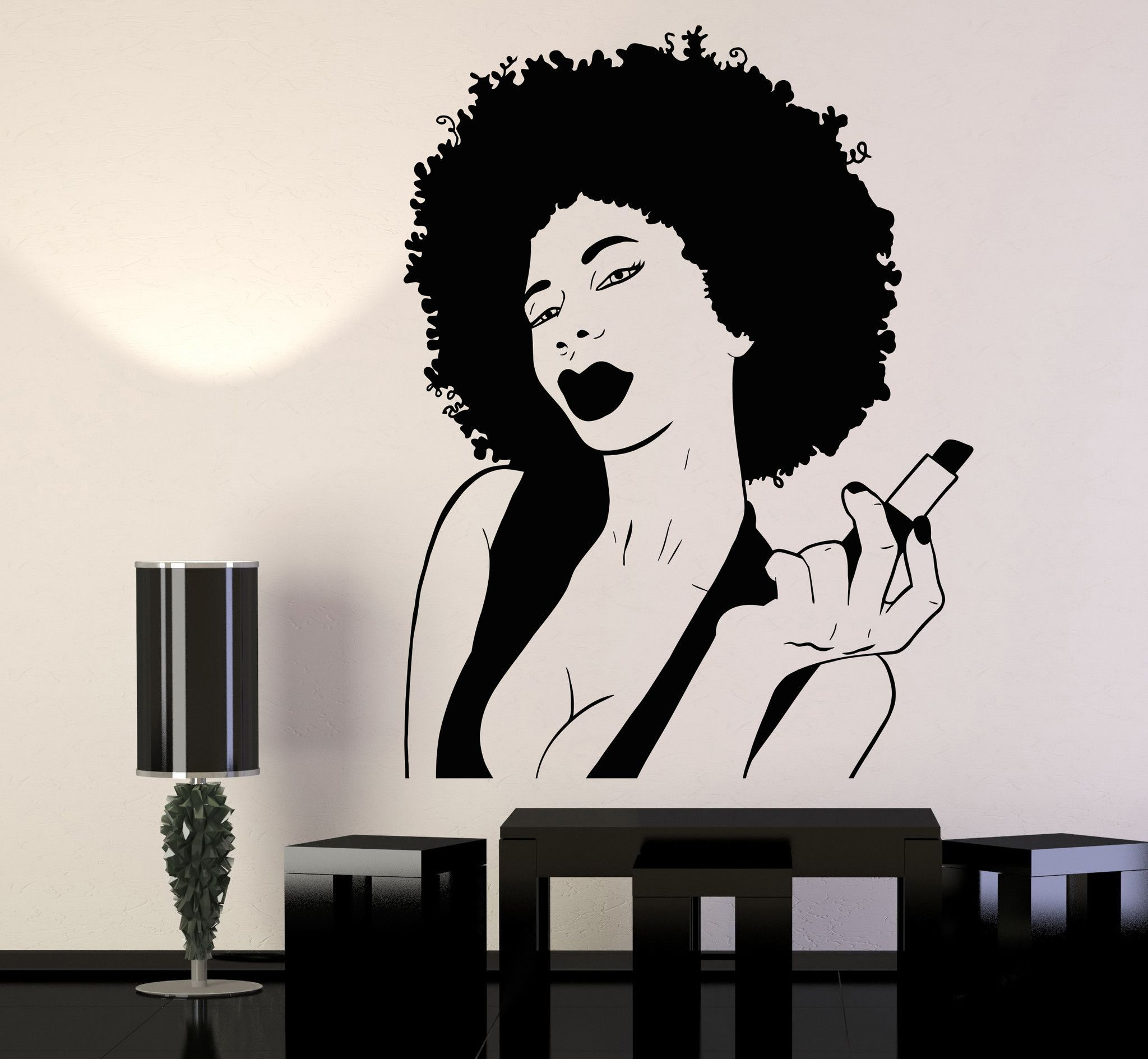 vinyl wall decal african woman black lady lips pomade makeup