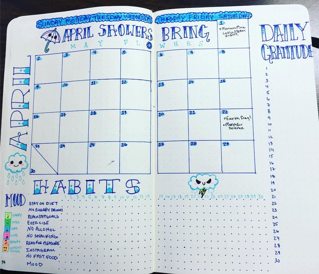 """17 Likes, 2 Comments - Emma (@entropyemma) on Instagram: """"Finished my #monthlyspread for April! Maybe a little early! Some slight changes from March, but…"""""""
