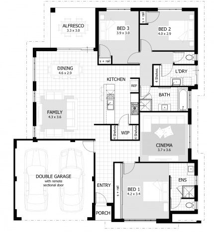 Floor Plans For 3 Bedroom 15m Width 198sqm Quite Large Home Area House Layout Plans Three Bedroom House Plan Small House Floor Plans