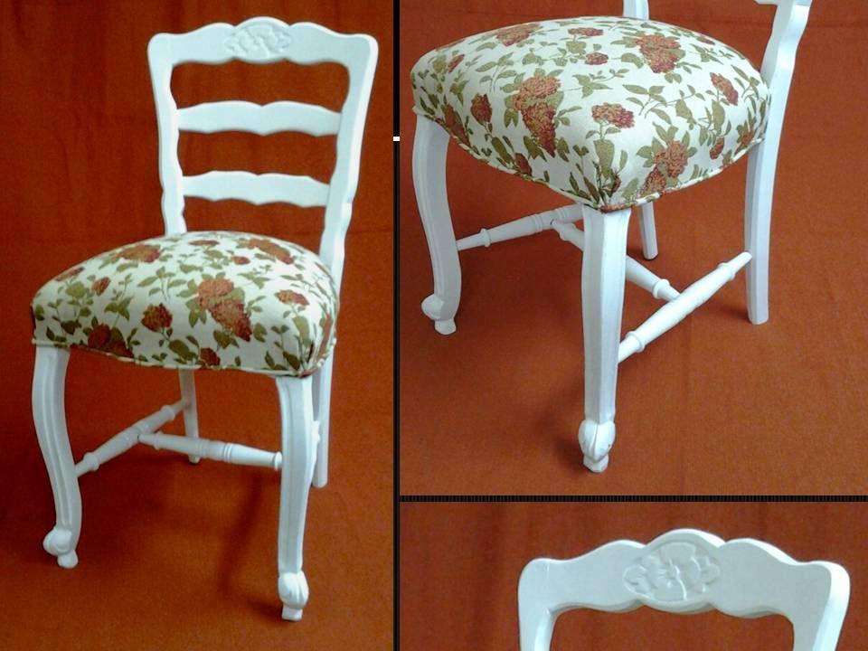 Silla estilo provenzal en laca blanca y tapizada en - Sillas estilo provenzal ...