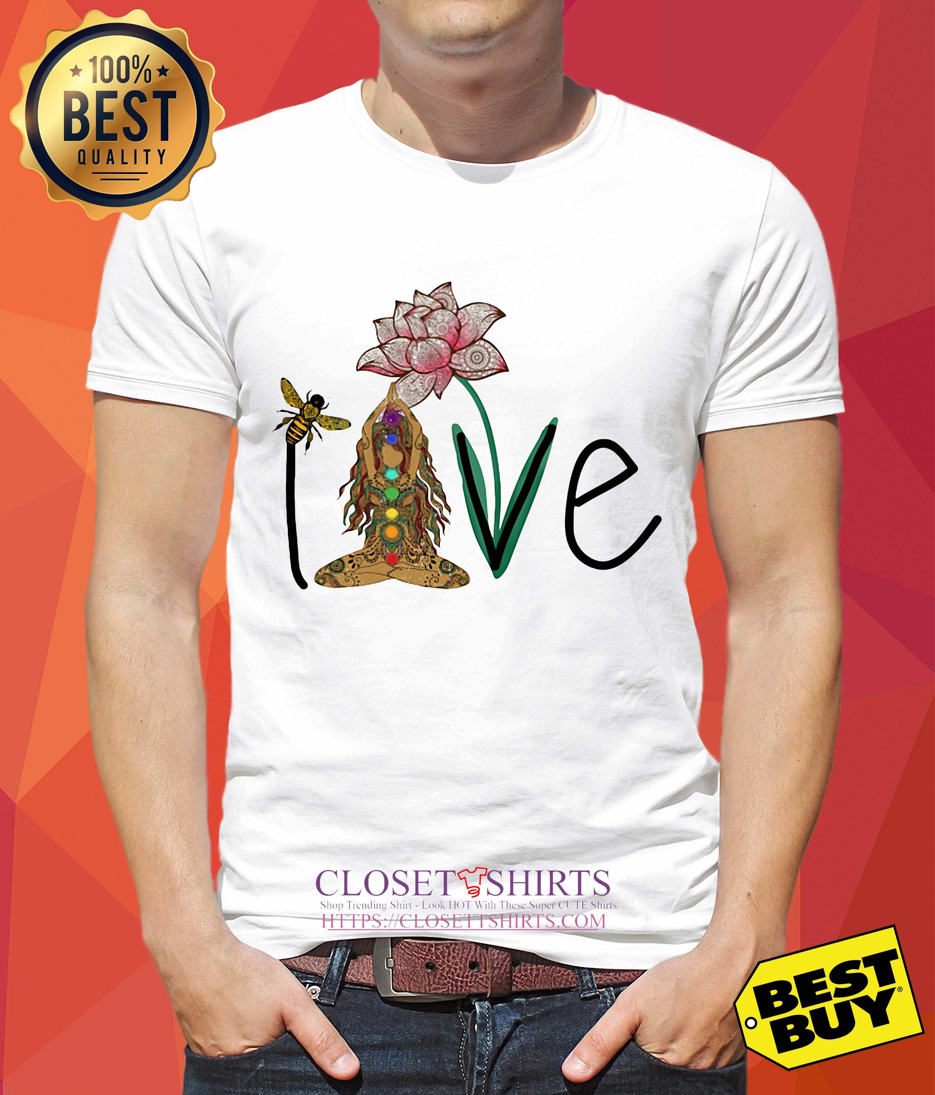 Love Namaste Bee Lotus Flower Yoga Shirt Hot Trending T Shirts