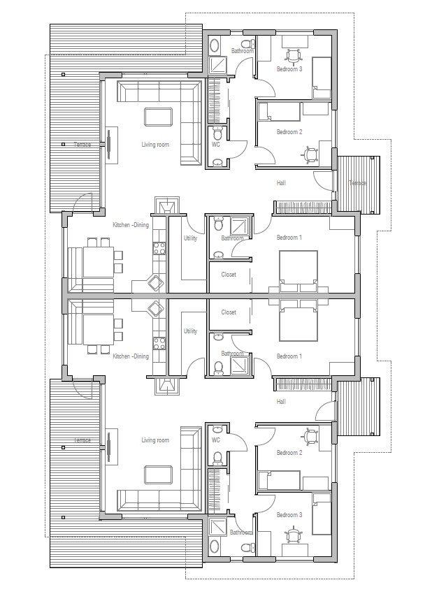 House design semi detached house plan ch121d 20 duplex for Semi detached house plans with garage