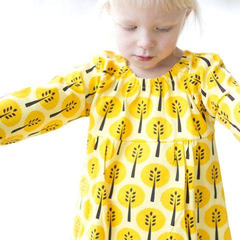 Yellow Trees Organic Dress Ittikid Scandinavian Children S Clothes Scandinavian Baby And Kids Cloth Swedish Kids Clothes Kids Outfits Trendy Baby Clothes