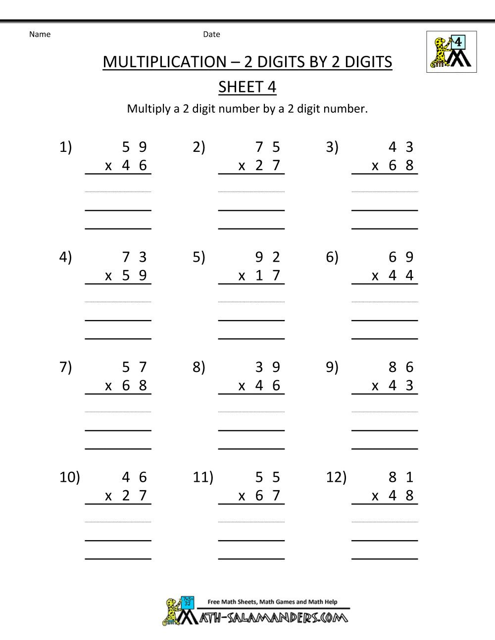 6 4 Digit Addition Worksheets Pdf In 2020 4th Grade Math Worksheets 4th Grade Multiplication Worksheets Printable Math Worksheets