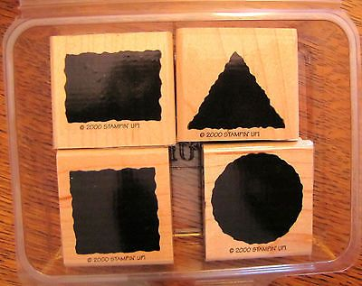 Stampin Up Little Shapes Set of 4 Rubber Stamps 2000 Square Circle Triangle | eBay $4.00  Solid backgrounds