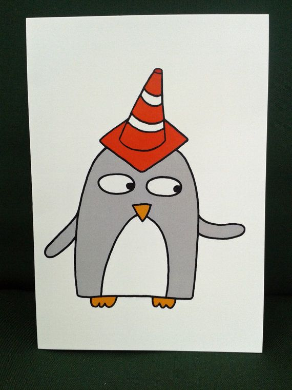 Cone On Head Card Funny Penguin Birthday By Penguinparadeshop