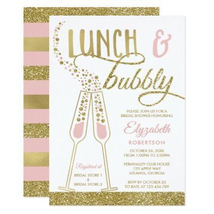 e54f3e224a9b Lunch and Bubbly Bridal Shower Invite Faux Gold Card - wedding invitations  cards custom invitation card design marriage party
