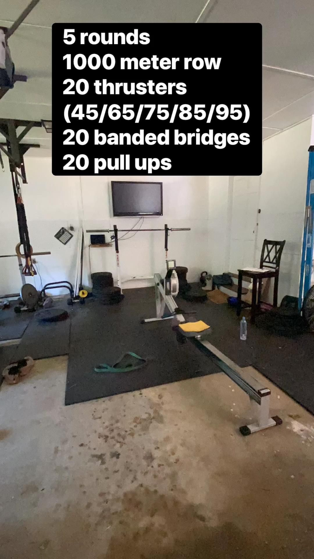 5 Rounds 1000 meters row 20 thrusters (45/46/75/85/95) 20 banded bridges 20 pull ups