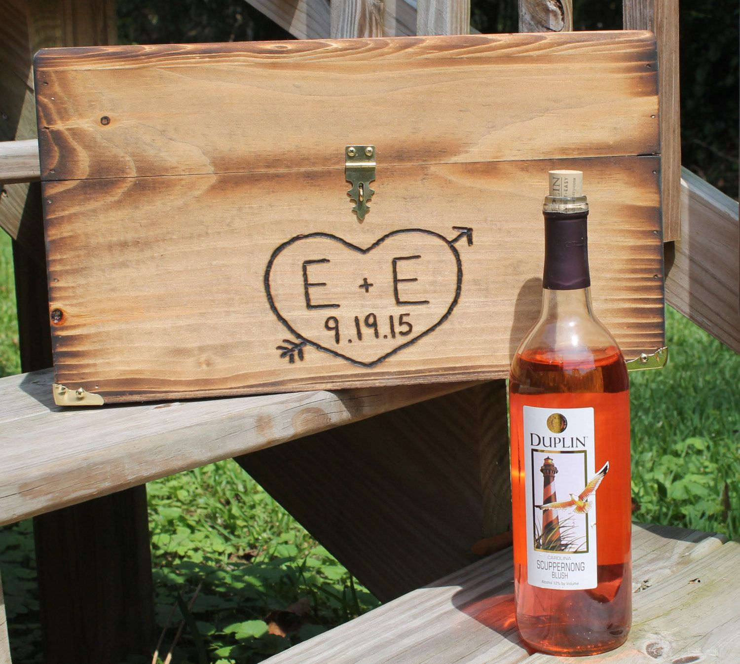 Keepsake Wedding Gifts: Wedding Wine Box Rustic Country Ceremony Time Capsule