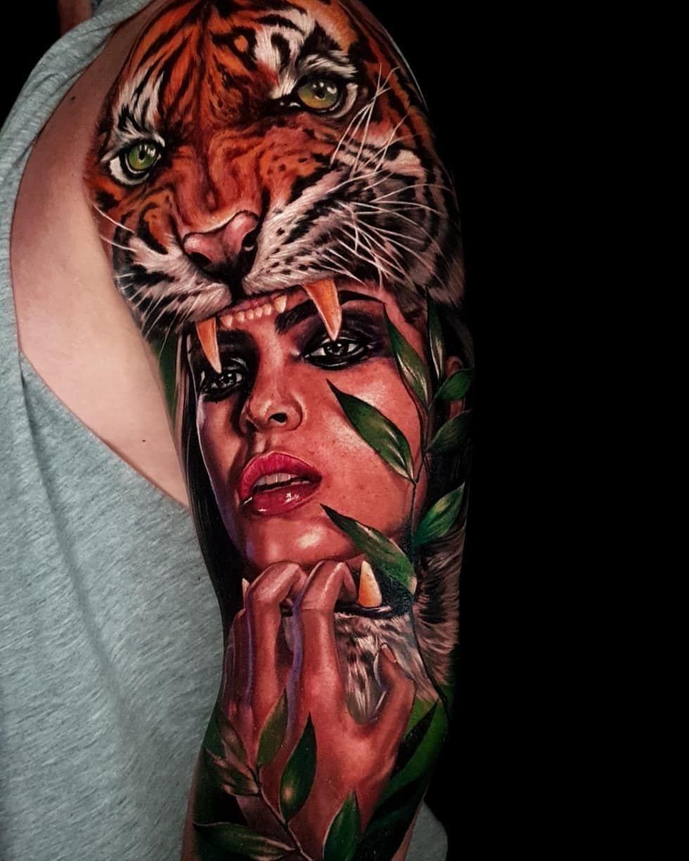 46++ Amazing Tiger tattoo arm girl image HD