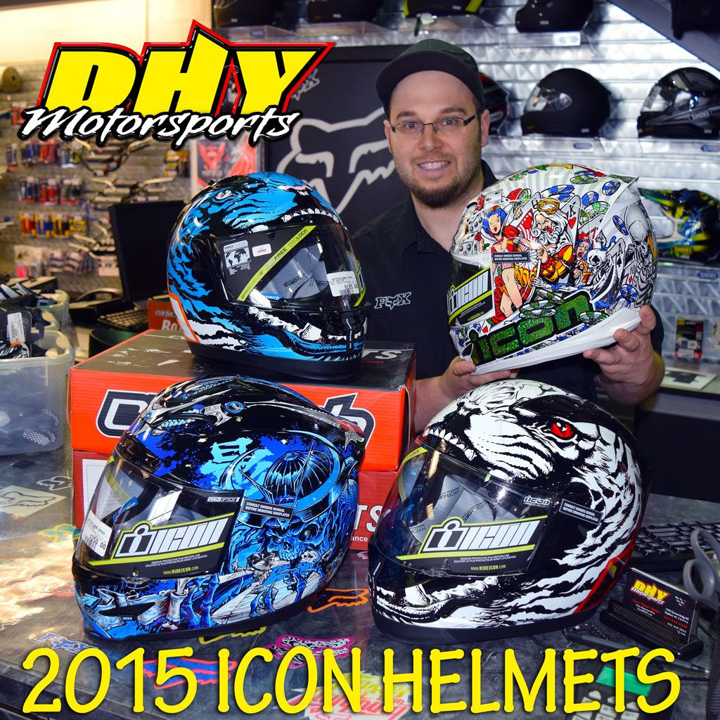 The 2015 #Icon #Helmets have landed at #DHYMotorsports Check in with #TommyBoom! for a perfect fit on a new Icon.