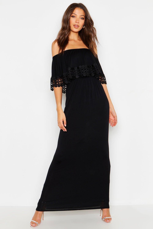 Tall Bardot Trim Detail Maxi Dress Maxi Dress Collection Maxi Dress Sale Black Maxi Dress [ 1500 x 1000 Pixel ]