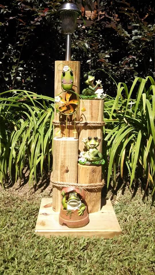 Frogs Solar Lights Landscape Timber Crafts Solar Light