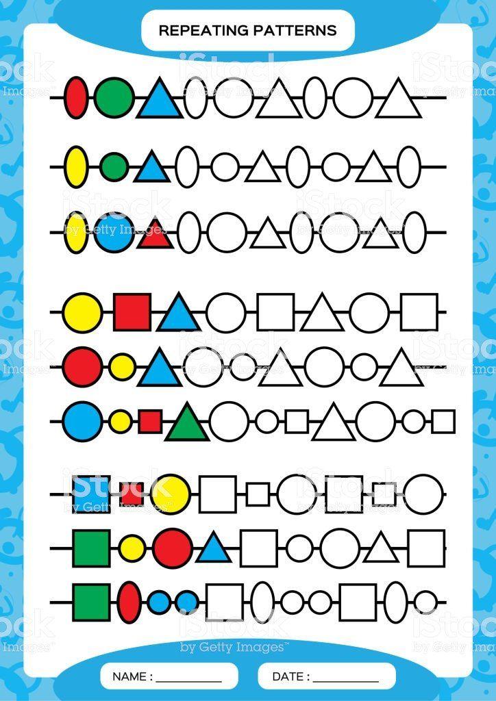 Geometric Shape Patterns Worksheet Plete Repeating ...