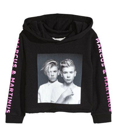 några dagar bort populärt varumärke klassisk stil Short Printed Hooded Top | Black/Marcus & Martinus | KIDS | H&M US ...