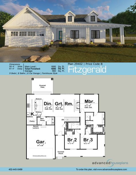The Fitzgerald Is A  Story House Plan With A Beautiful Modern Farmhouse Exterior And A Family Centered Interior This Modern Farmhouse Style Features Open