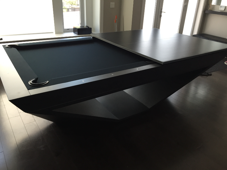 Stealth Pool Table With Conversion Top Pooltable Conversiontop Luxurybrand Luxurylifestyle Gameroom Modern Pool Table Custom Pool Tables Pool Table