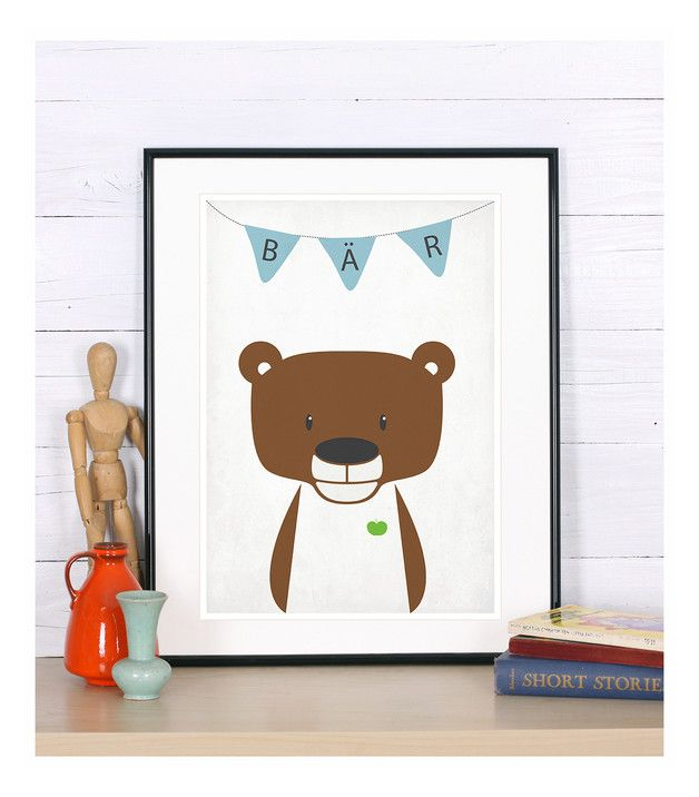 Bild Für Das Kinderzimmer, Plakat Mit Bär In Braun Und Herz In Grün Für  Kinder