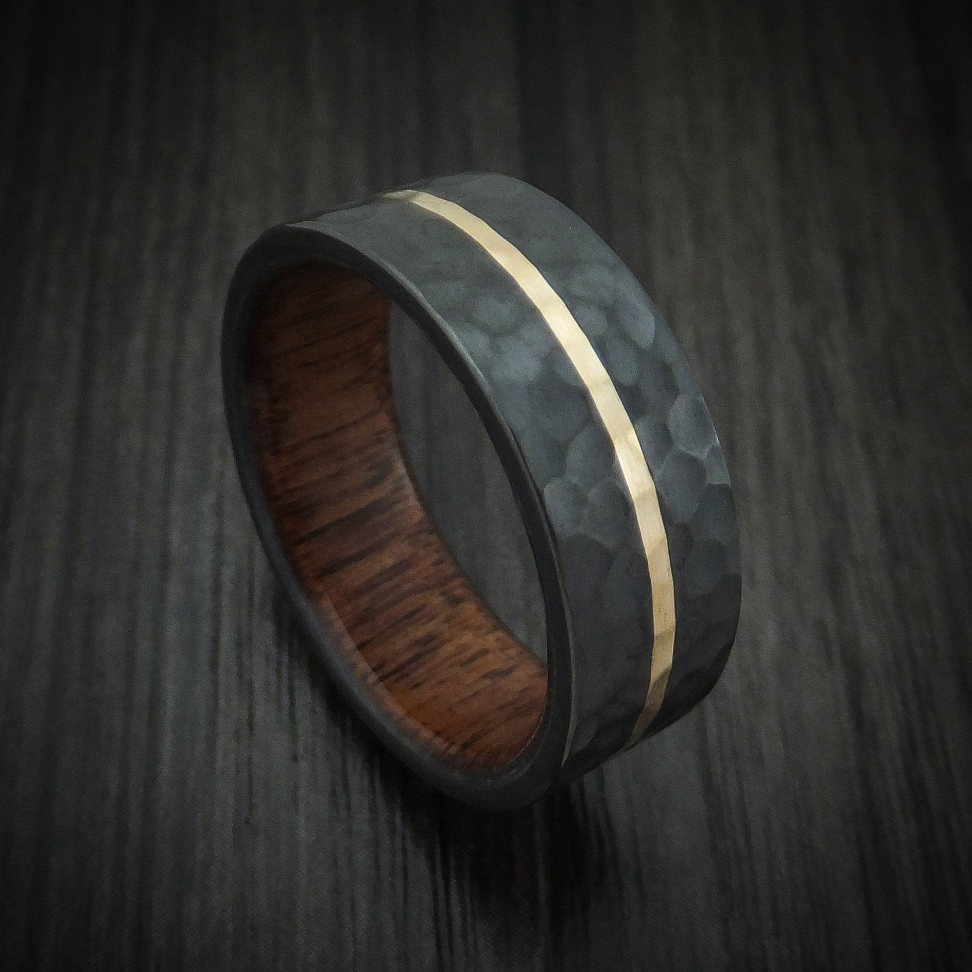Black Zirconium Ring with 14K Gold and Wood Sleeve Custom