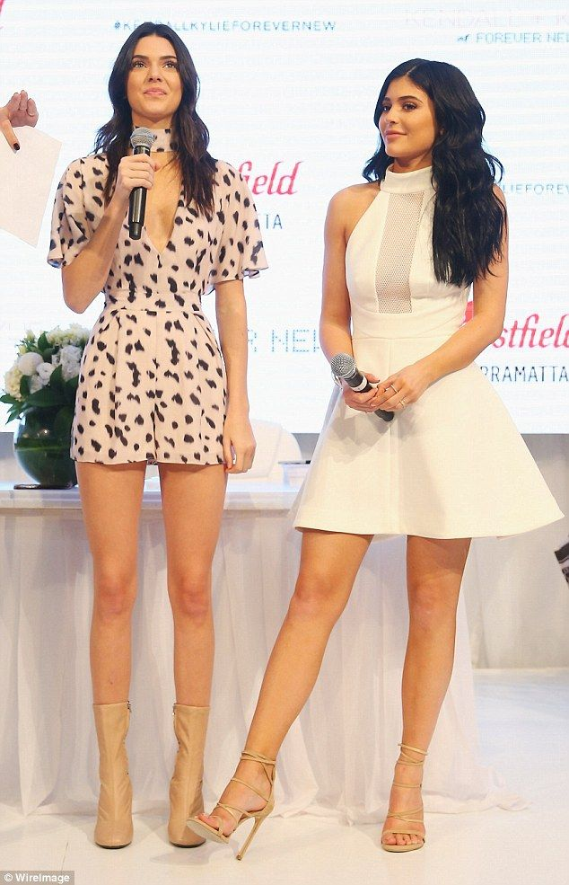 24631f2f774 Kylie Jenner looked lovely in a white dress as she joined sister Kendall  Jenner at the launch event for the girls  clothing line at Westfield in  Paramatta