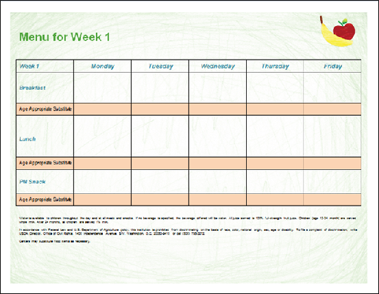 Printable Menu template for child care programs. Word document is ...