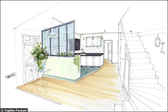 Sophie ferjani design et am nagement d 39 int tieur for Dessin chambre perspective