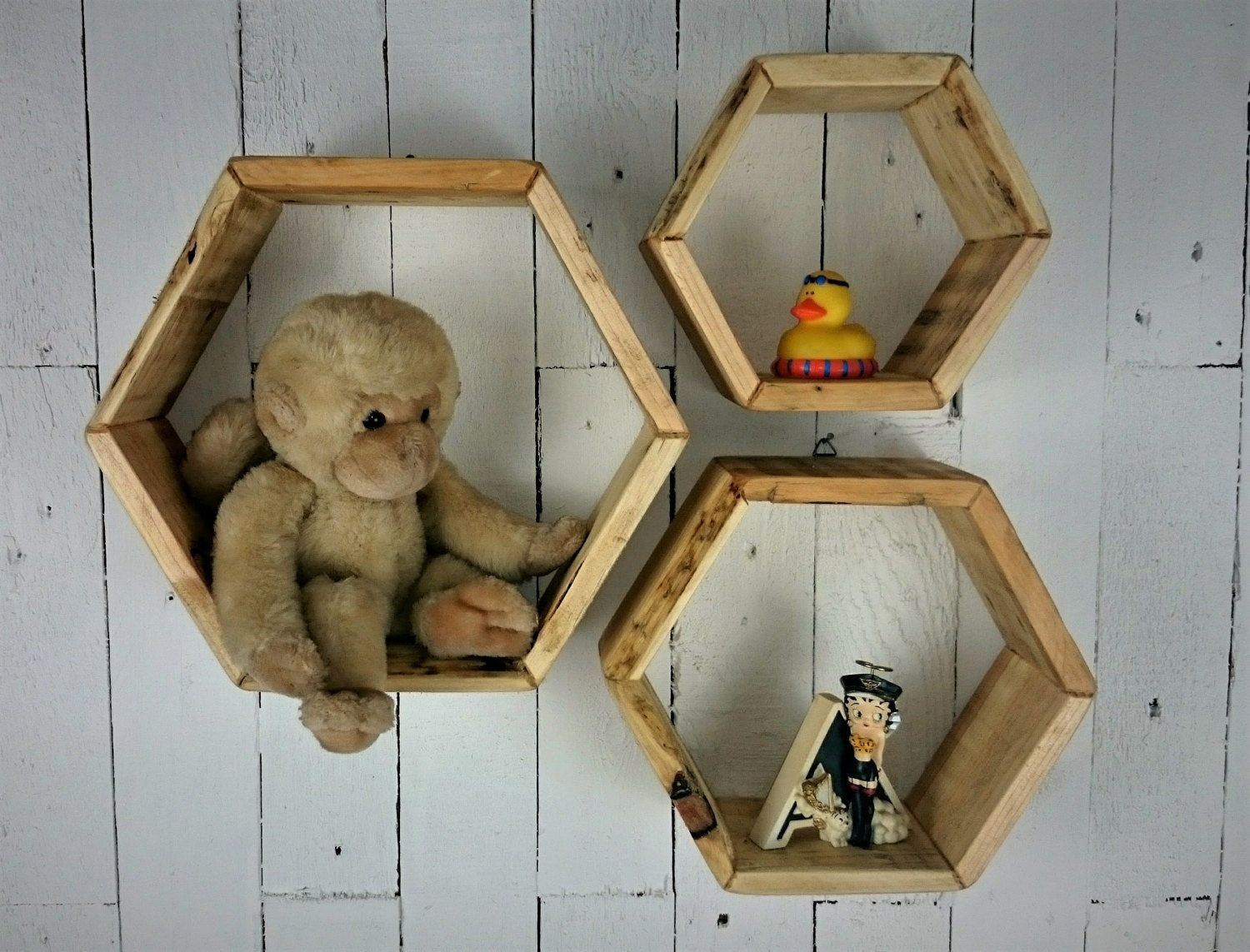 Hexagon Shelves Set Of 3 Made From Responsibly Sourced And Etsy Rustic Wooden Shelves Wooden Shelf Unit Wooden Shelves