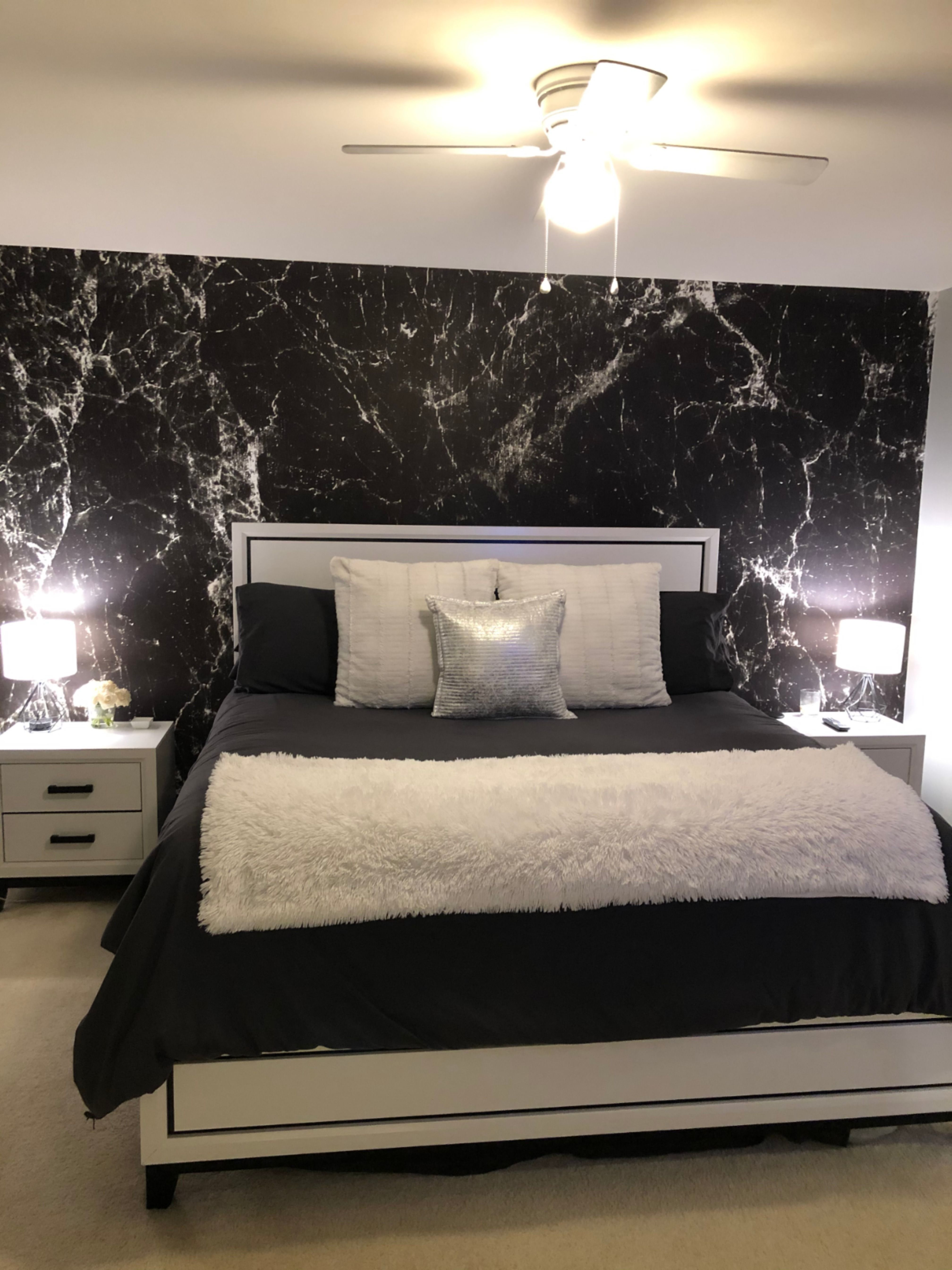 Myw Customer Lauren W Gave Her Bedroom A Dramatic Accent With This Luxurious Marble Wallp Marble Wallpaper Bedroom Bedroom Wallpaper Murals Wall Decor Bed Black Wallpaper Bedroom Marble Wallpaper Bedroom