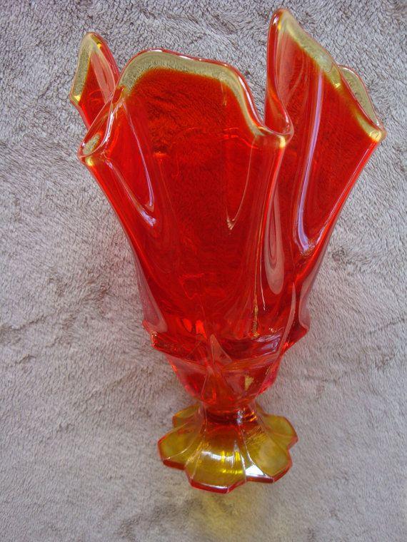Viking Amberina Glass Vase Red Yellow Orange 1950 1960 Viking Have