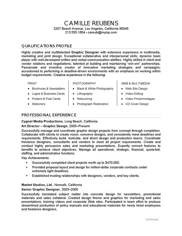 Graphic Designer Job Description Resume - http://www.resumecareer ...