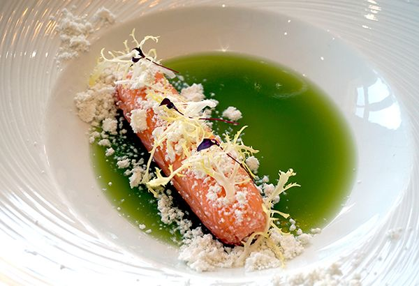 Smoked salmon cannelloni with goats cheese curd, rapeseed oil crumb, cucumber jelly