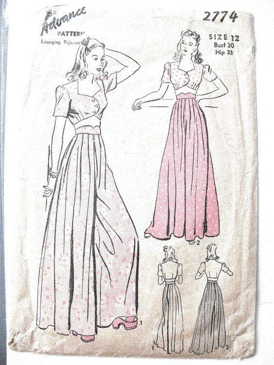 Early 1940s Advance 2774 Palazzo Pants and Midriff by Fancywork ...