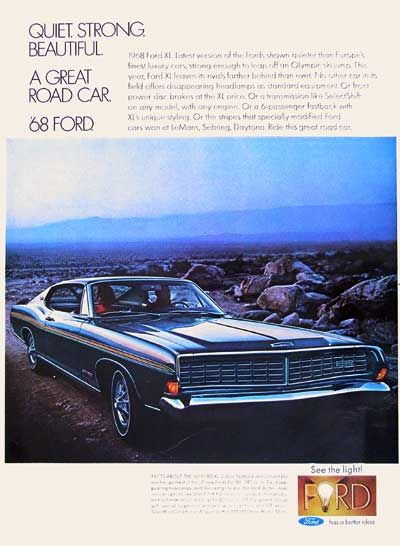 1968 Ford Xl Fastback Coupe Classic Vintage Print Ad Ford Galaxie Ford Car Advertising