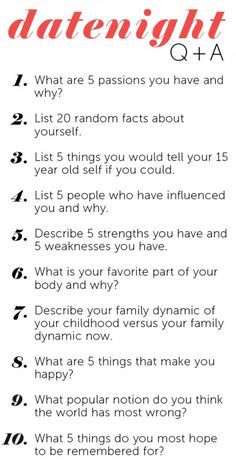 Here are 10 great questions to ask on your first or second date. Actually,  these could be good questions for any couple to ask each other – at any  time in ...