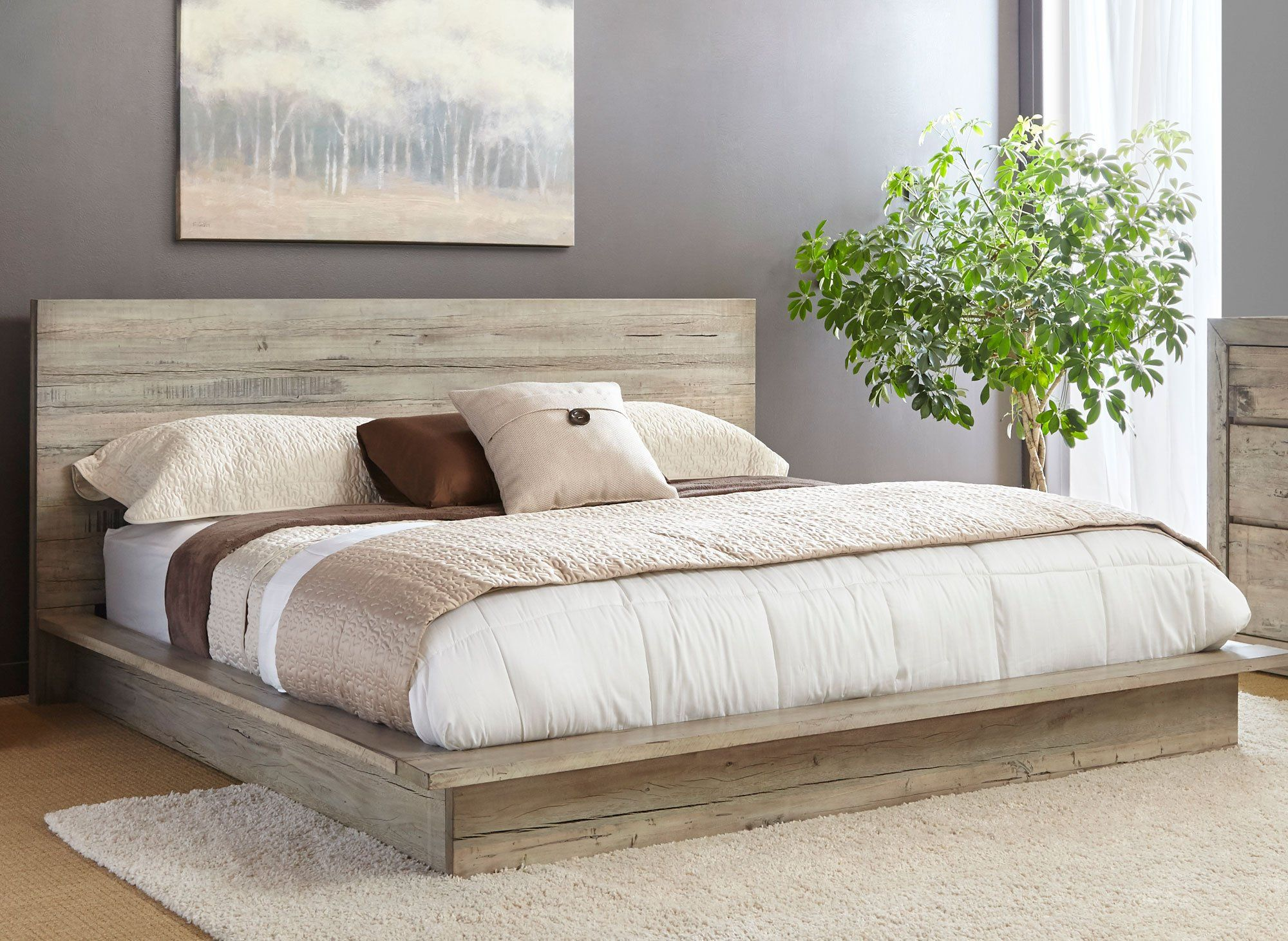 Modern Rustic Whitewash Queen Platform Bed Renewal