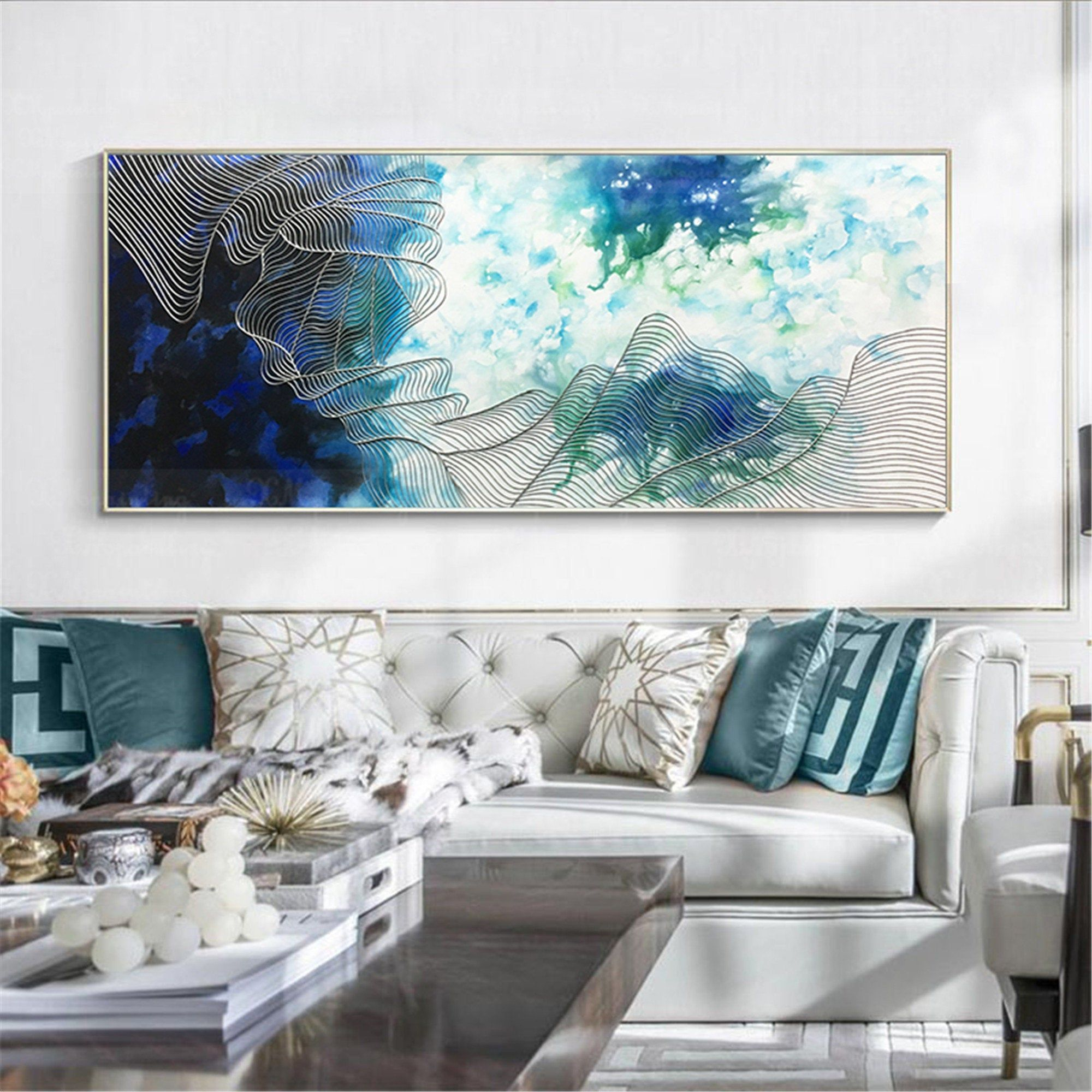 Abstract Canvas Painting Wall Art Pictures For Living Room Etsy Canvas Wall Art Living Room Abstract Canvas Painting Wall Decor Bedroom