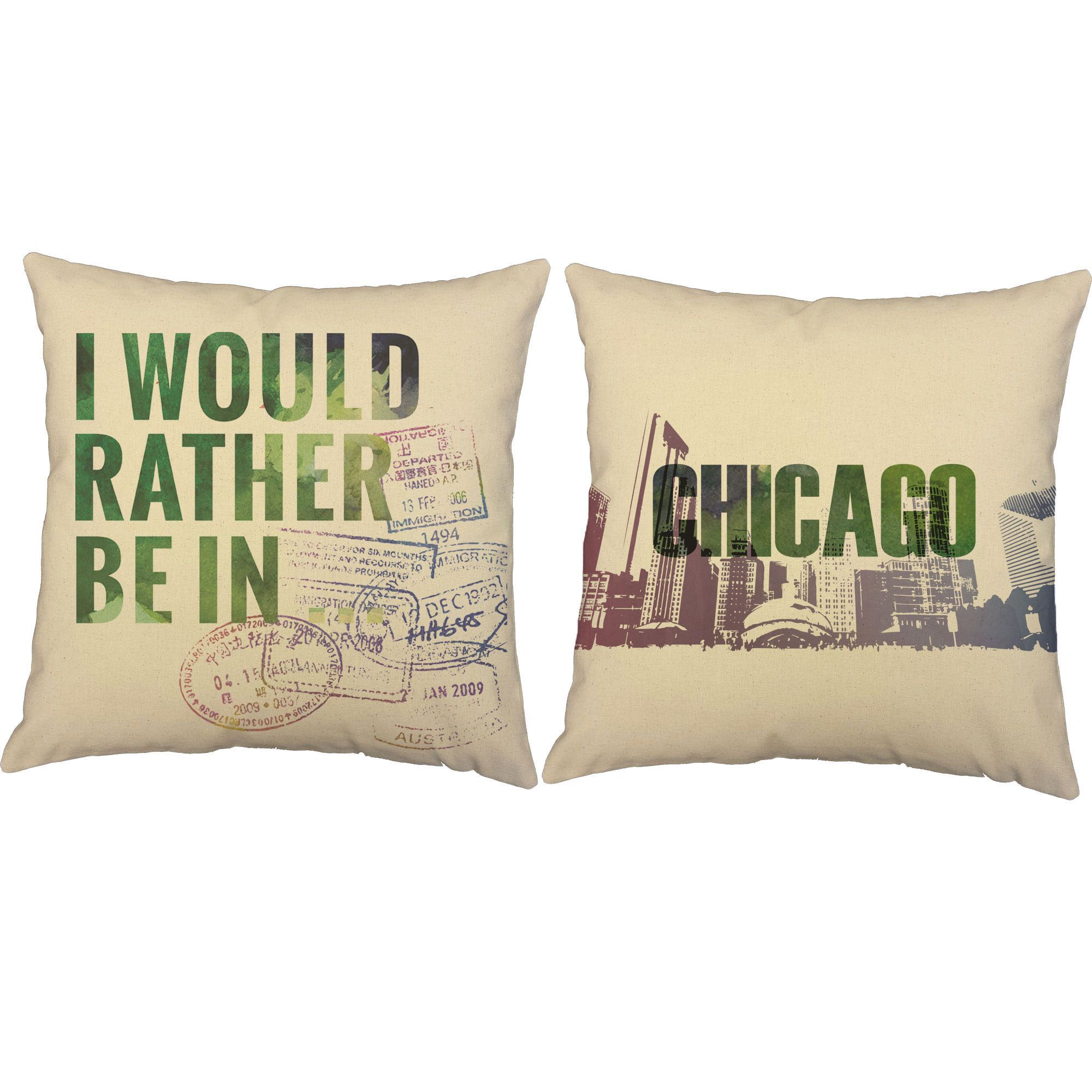 I'd Rather Be In Chicago Throw Pillows - Set of 2