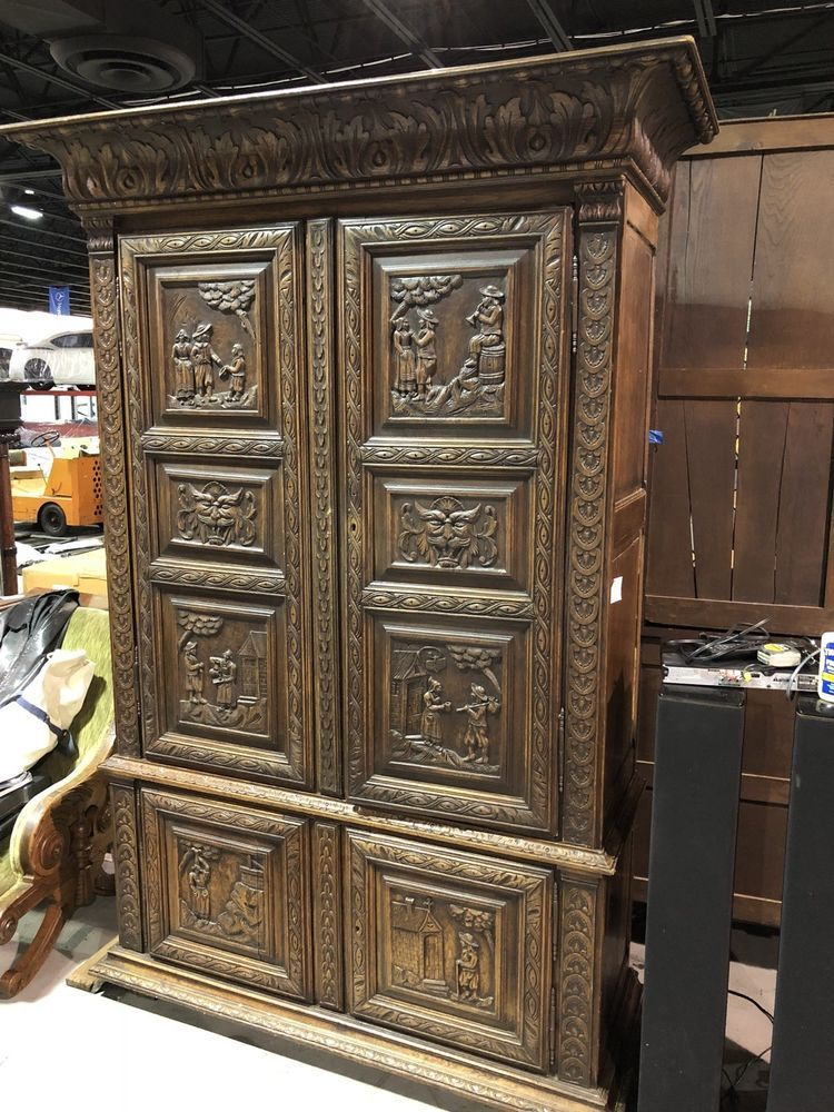 Rare 19th Century Large Antique Carved French Peasant Armoire Old Cabinet France Ebay