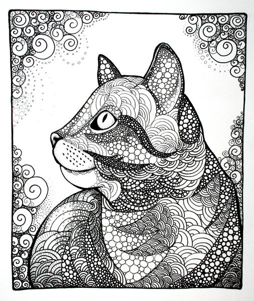 coloring for adults kleuren voor volwassenen zentangles pinterest cat doodle doodles and cat