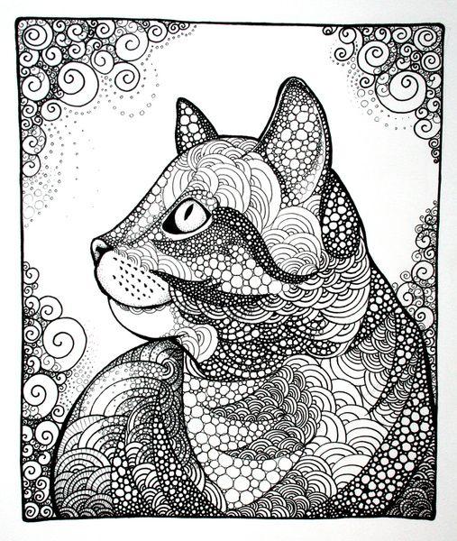Dreamy Cat Art Print Zentangle